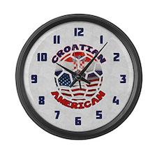 Croatian American Soccer Fan Large Wall Clock