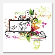"""air force wife flowers m Square Car Magnet 3"""" x 3"""""""