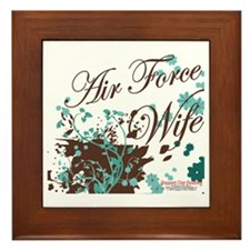 Air Force wife flower brown Framed Tile