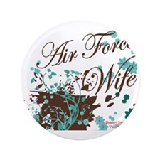 "Air Force wife flower brown 3.5"" Button"