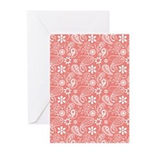 Cute Coral Pink Paisley Greeting Cards