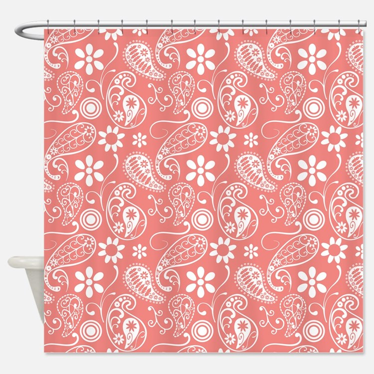 Coral Paisley Shower Curtains Coral Paisley Fabric