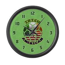 Irish American Soccer Fan Large Wall Clock