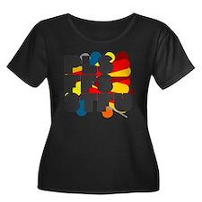 pls ffs  Women's Plus Size Dark Scoop Neck T-Shirt