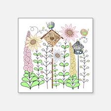 """Cottage Garden Birds and Fl Square Sticker 3"""" x 3"""""""