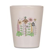 Cottage Garden Birds and Flowers Shot Glass
