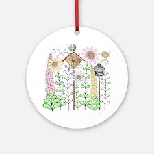 Cottage Garden Birds and Flowers Round Ornament