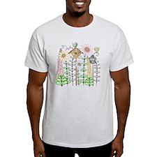 Cottage Garden Birds and Flowers T-Shirt
