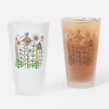 Cottage Garden Birds and Flowers Drinking Glass
