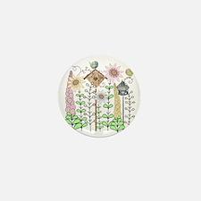 Cottage Garden Birds and Flowers Mini Button