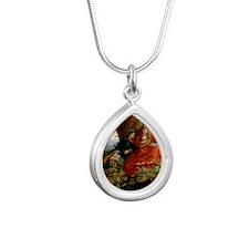 Red Dress Card Silver Teardrop Necklace