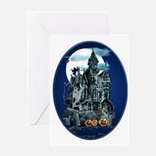 Haunted House Oval Trans Greeting Card