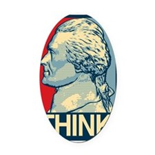 THINK-10x10 Oval Car Magnet