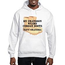 Navy Grandma Grandson Desert Combat Boots Hoodie
