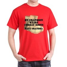 Navy Grandma Grandson Desert Combat Boots T-Shirt
