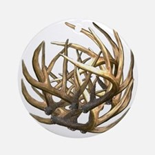 Whitetail Buck Deer Antler Art Clus Round Ornament