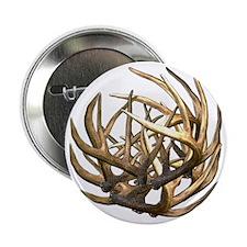 "Whitetail Buck Deer Antler Art Cluste 2.25"" Button"