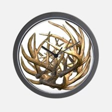 Whitetail Buck Deer Antler Art Cluster Wall Clock