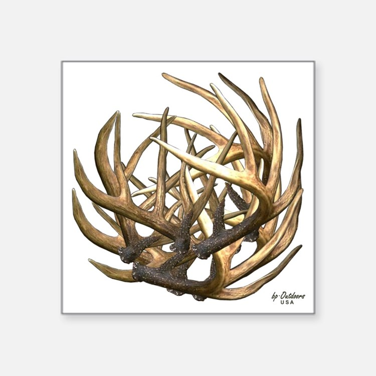 "Whitetail Buck Deer Antler  Square Sticker 3"" x 3"""