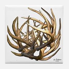 Whitetail Buck Deer Antler Art Cluste Tile Coaster