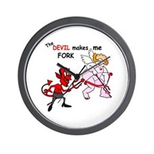 Devil Makes Me FORK Wall Clock