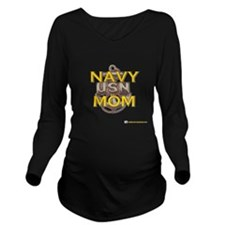navy gold MOM.png Long Sleeve Maternity T-Shirt