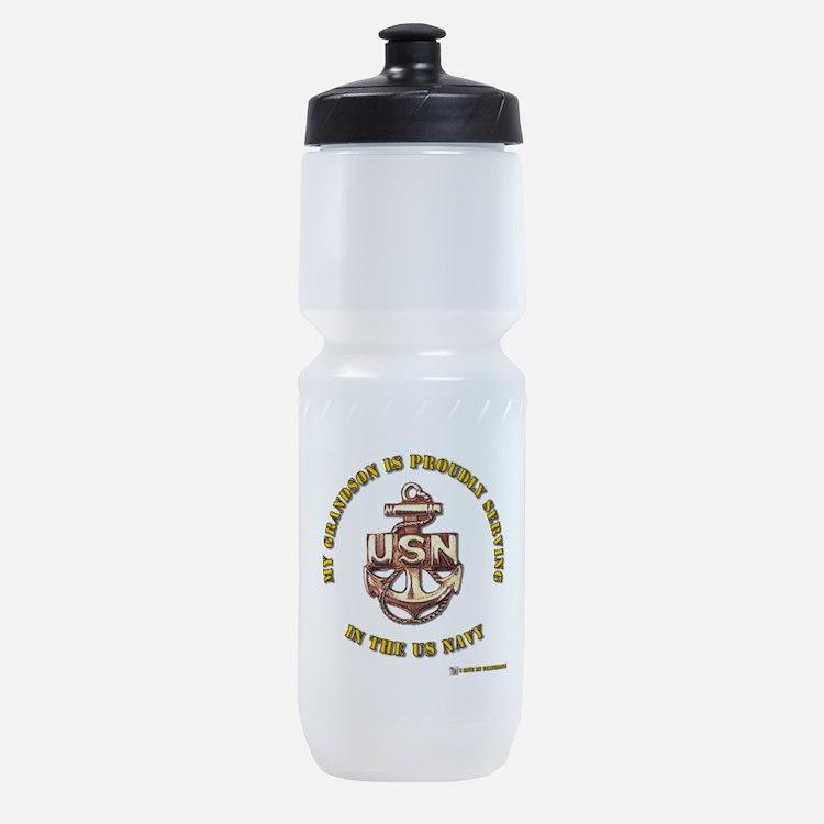 navy gold grandson.png Sports Bottle