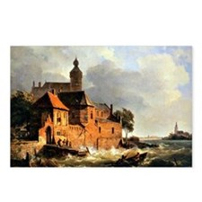 Men in Boat at Choppy Sea Postcards (Package of 8)