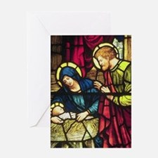 Stained Glass Nativity Greeting Card