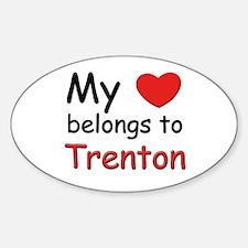 My heart belongs to trenton Oval Decal