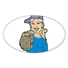 Baseball Girl Oval Decal