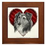 Sheltie Heart Framed Tile
