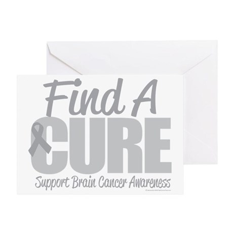 Brain-Cancer-Find-A-Cure-blk Greeting Card
