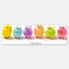 2-Easter chicks in a row Bumper Bumper Sticker