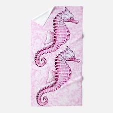 Pink Seahorses Beach Towel