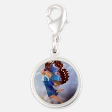 Fairy Butterfly Silver Round Charm