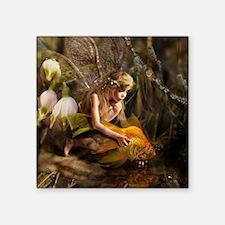 "Fairy with fish Square Sticker 3"" x 3"""