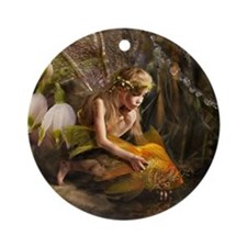 Fairy with fish Round Ornament