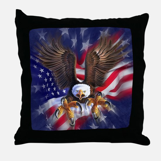 Patriotic Eagle Throw Pillow