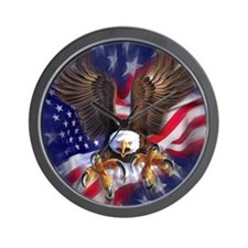 Patriotic Eagle Wall Clock