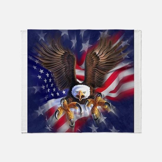 Patriotic Eagle Throw Blanket