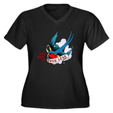 Swallow, Bir Women's Plus Size Dark V-Neck T-Shirt