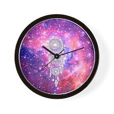 Galaxy Nebula Glitter dreamcatcher Pink Wall Clock