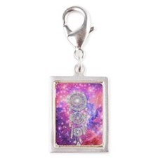 Galaxy Nebula Glitter dreamc Silver Portrait Charm