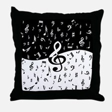 Stylish random musical notes Throw Pillow