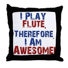 I Play flute Throw Pillow