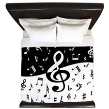Stylish random musical notes King Duvet