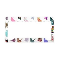 Girly Whimsical Cats aztec fl License Plate Holder