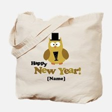 Personalized New Years Owl Tote Bag