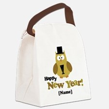 Personalized New Years Owl Canvas Lunch Bag